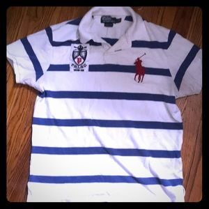 Men's large white RL polo with blue strips.